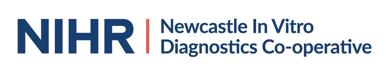 Logo for the NIHR newcastle MIC in navy and coral on clear background